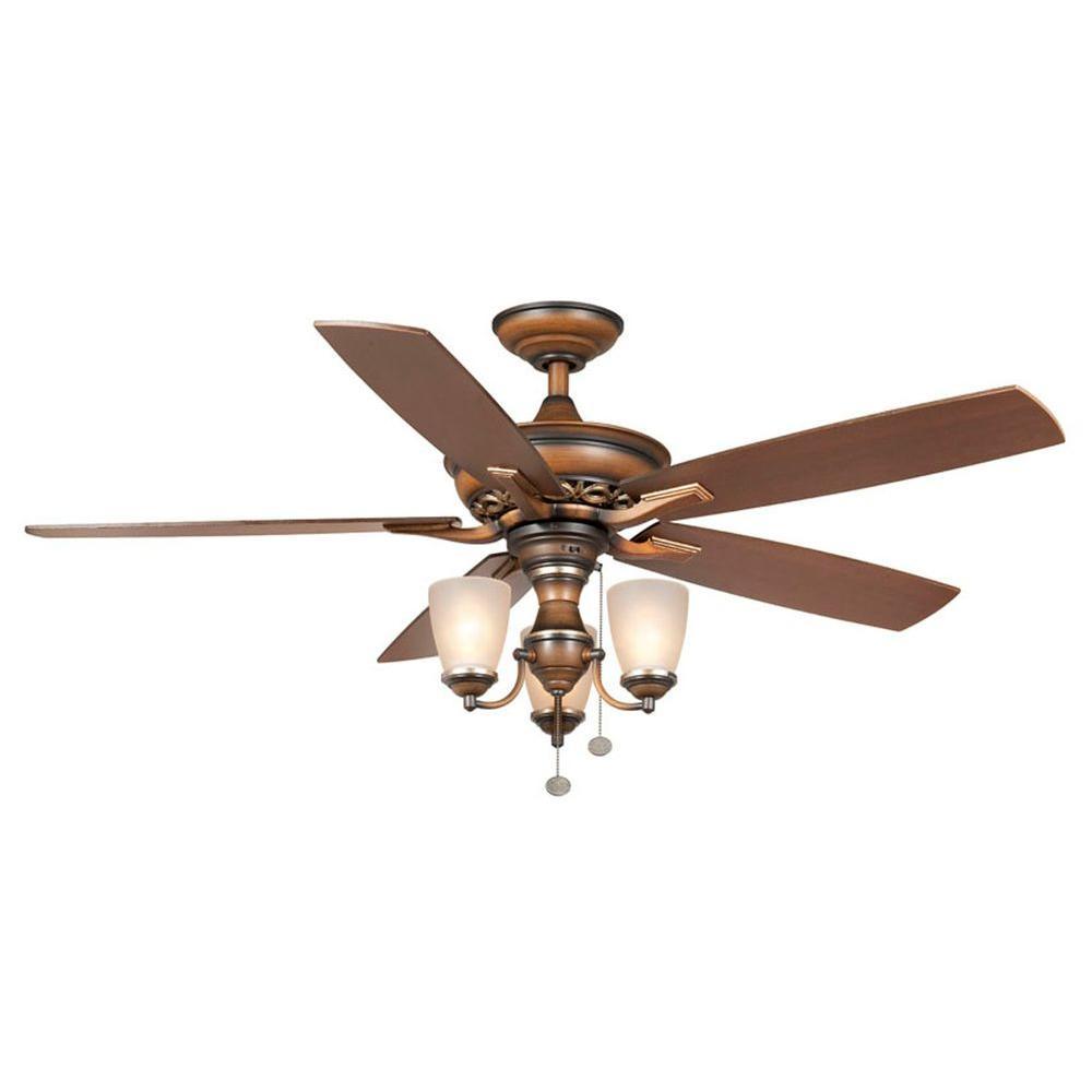 Hampton Bay Havenville 52 In Indoor Berre Walnut Ceiling Fan With Light Kit 14951