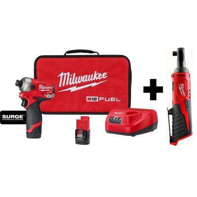 M12 FUEL SURGE 12-Volt Lithium-Ion Brushless Cordless 1/4 in. Hex Impact Driver Compact Kit w/ Free M12 3/8 in. Ratchet