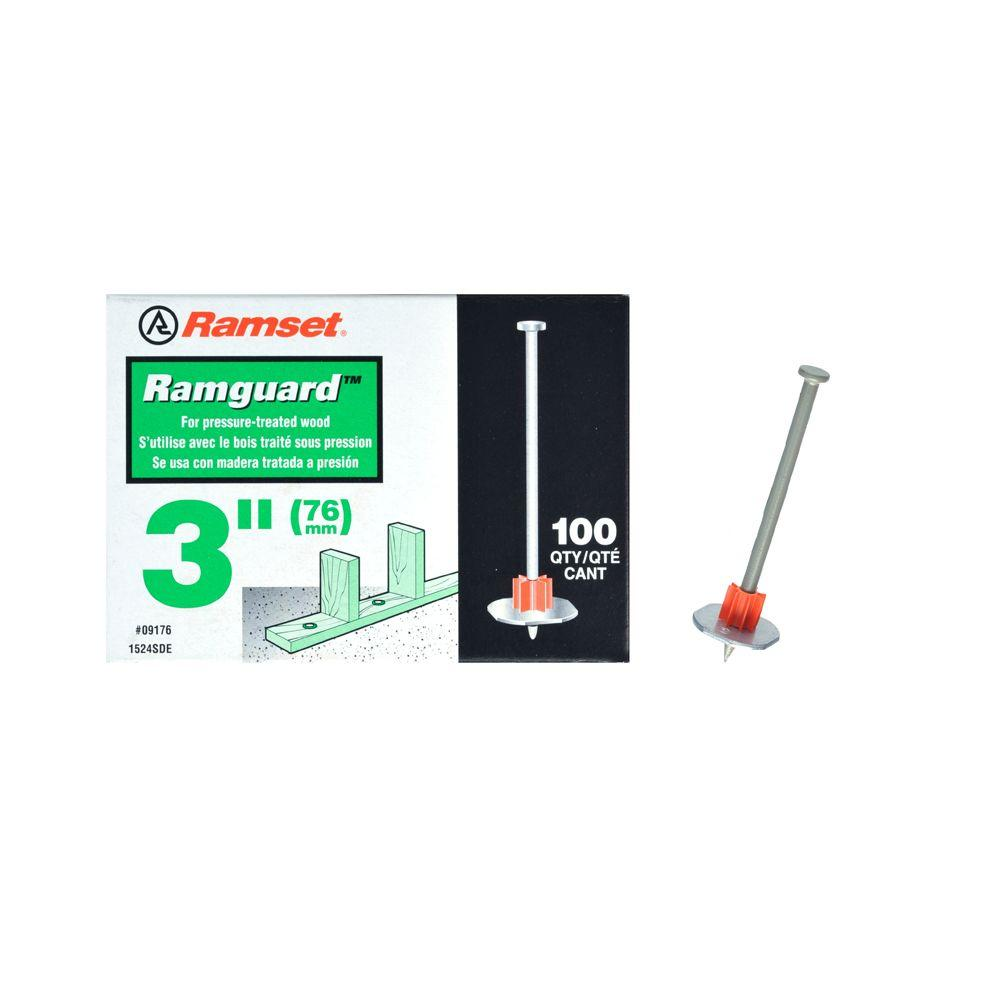 Ramset Ramguard 3 in. Drive Pins with Washers (100-Pack)