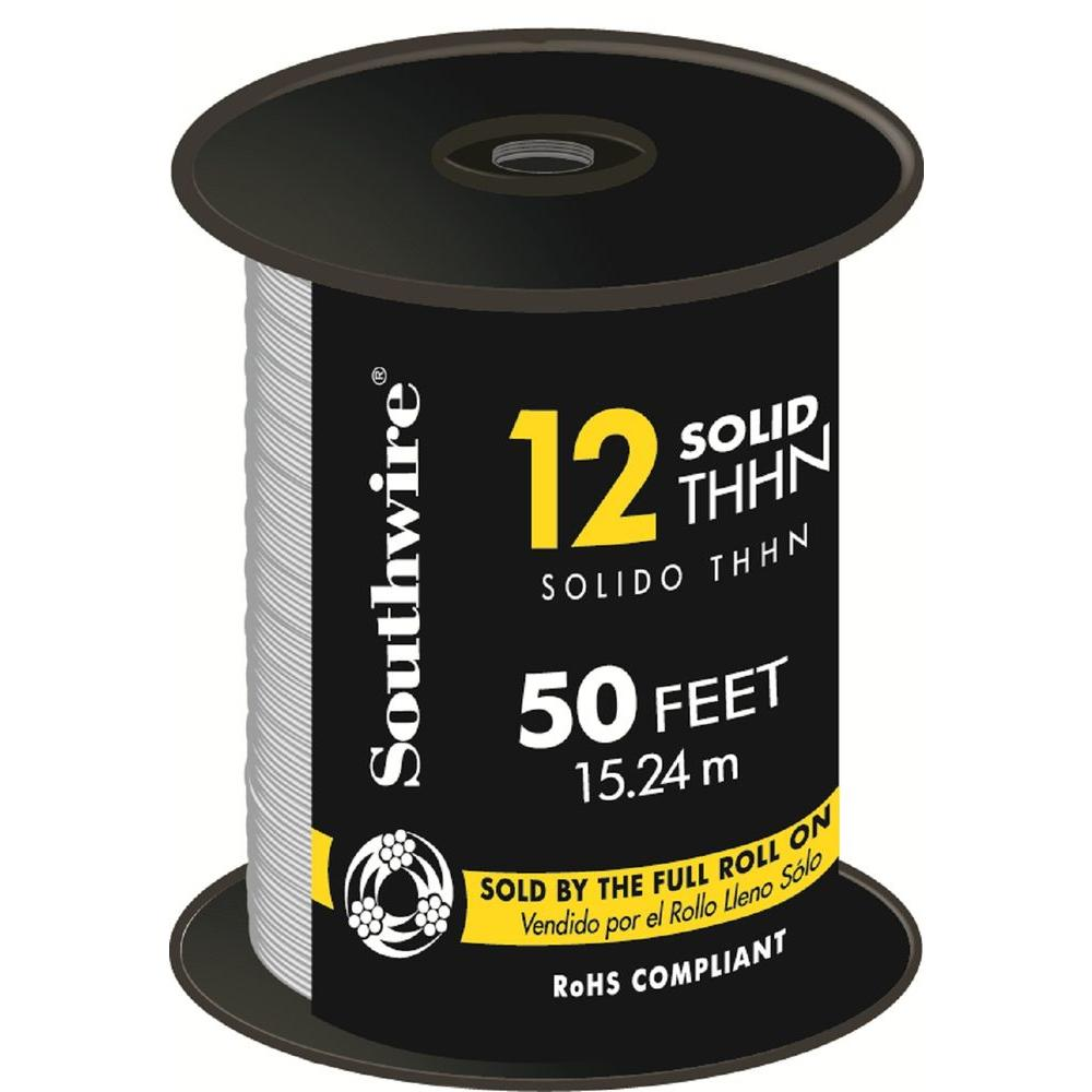 Southwire 50 ft. 12 White Solid CU THHN Wire