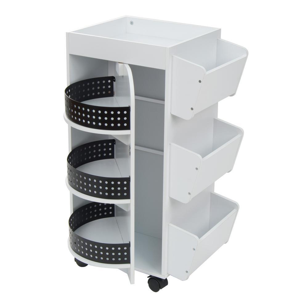 21.75 inch W x 14.25 inch D x 34.5 inch H Swivel 3-Shelf PB Utility Craft...