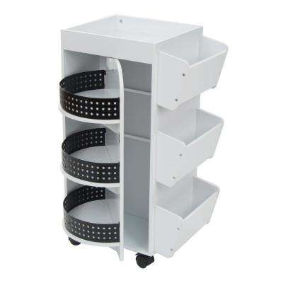 21.75 in. W x 14.25 in. D x 34.5 in. H Swivel 3-Shelf PB Utility Craft Mobile Cart 4-Wheeled in White