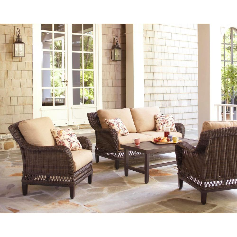 Woodbury 4-Piece Wicker Outdoor Patio Seating Set with Textured Sand Cushion  sc 1 st  The Home Depot & Hampton Bay Woodbury 4-Piece Wicker Outdoor Patio Seating Set with ...
