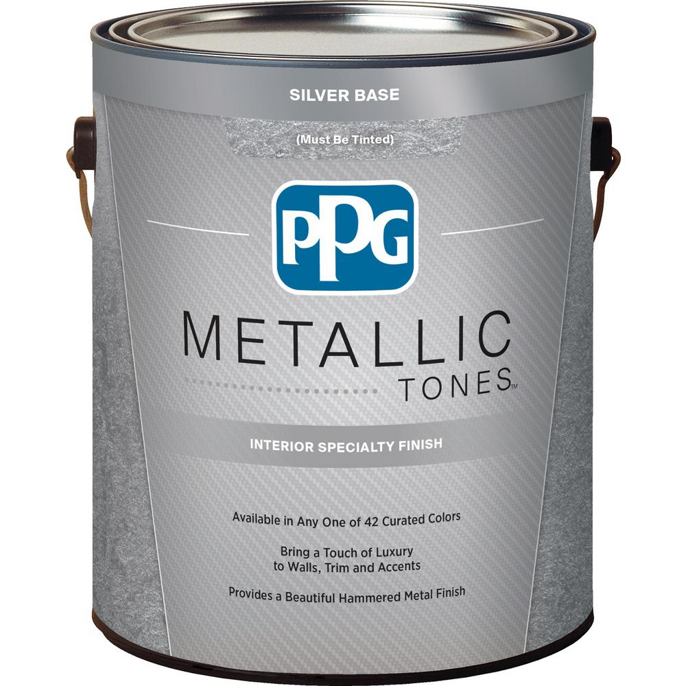 Ppg metallic tones 1 gal silver metallic interior for How to make metallic paint