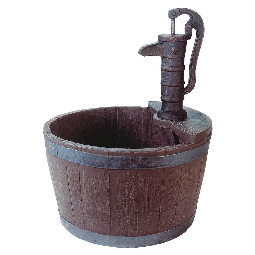 Little Giant Fa Wb W Whiskey Barrel Weather Wood Finish Water Fountain Hand Pump