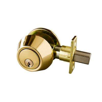 Single Cylinder Polished Brass Deadbolt with 6-Way Universal Latch