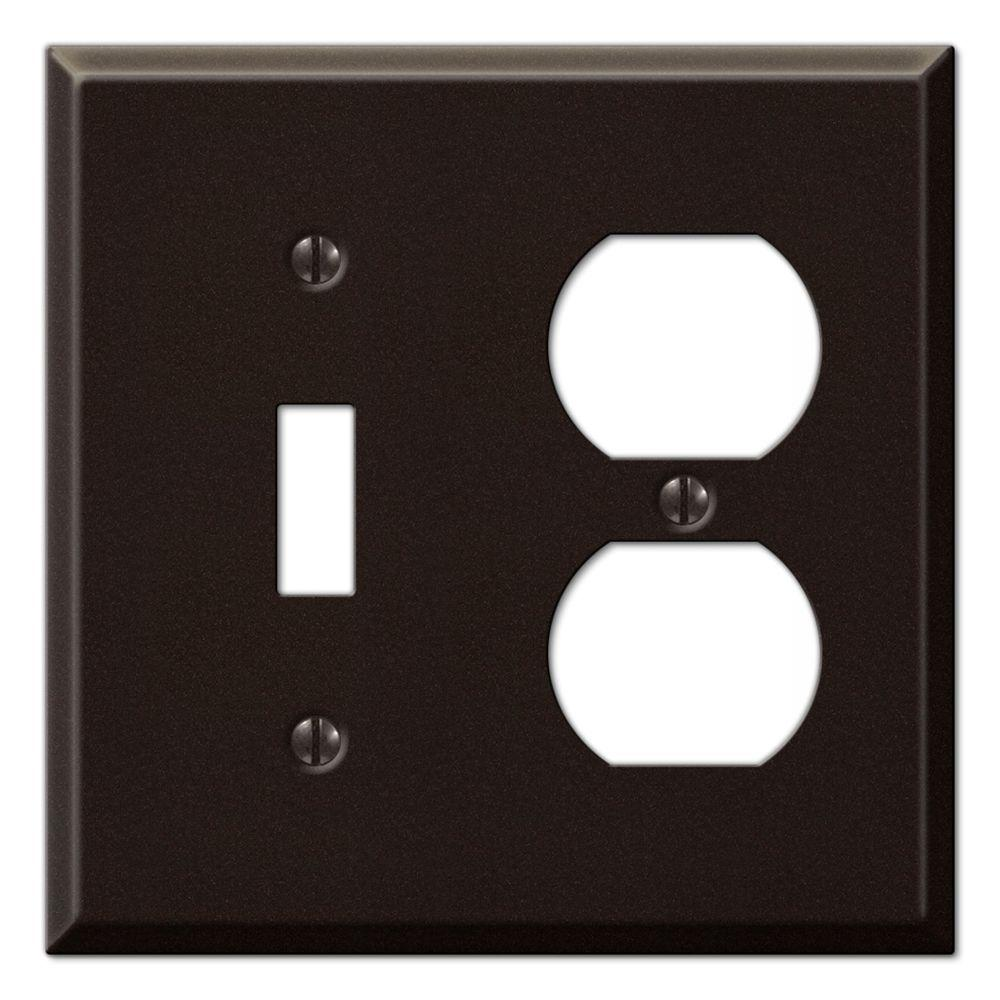 Creative Accents Steel 1 Toggle 1 Duplex Wall Plate - Antique Bronze