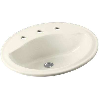 Sanibel Drop In Ceramic Bathroom Sink In Biscuit With Overflow Drain