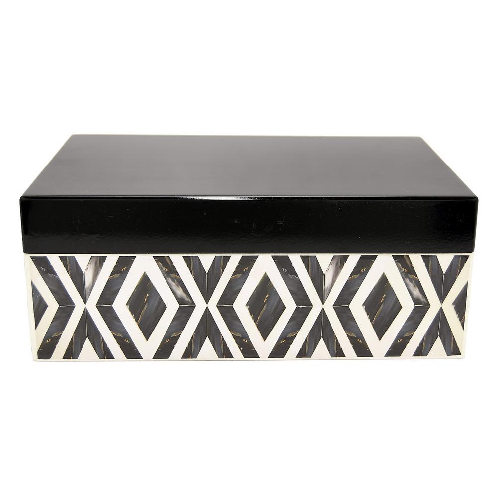 3.25 in. Wood Box in Black