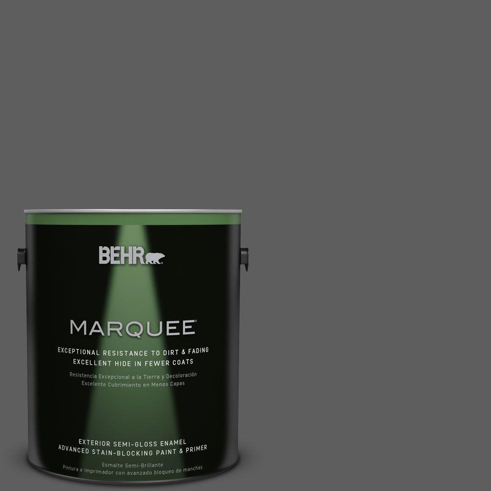BEHR MARQUEE 1-gal. #N520-6 Asphalt Gray Semi-Gloss Enamel Exterior Paint