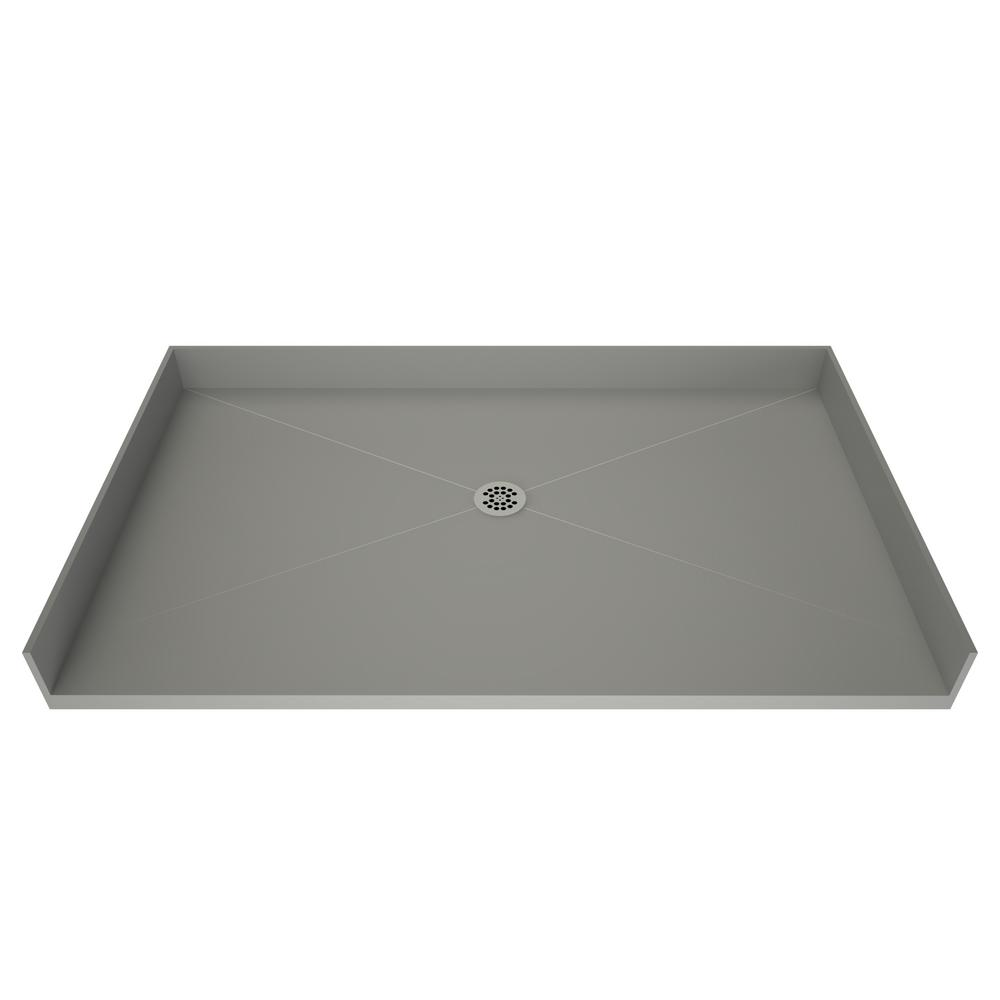 Tile Redi Free 37 In X 72 Barrier Shower Base Grey With Center Drain