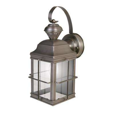 1-Light Brushed Nickel Motion Activated Outdoor Wall Mount Lantern