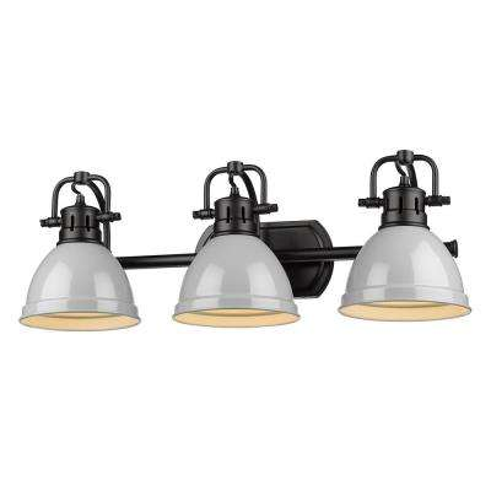 Duncan 3-Light Black Bath Light with Gray Shade