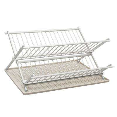 17.4 in. x 13.22 in. Folding Dish Rack in Brushed Aluminum with Silicone Drysmart Mat in Light Grey