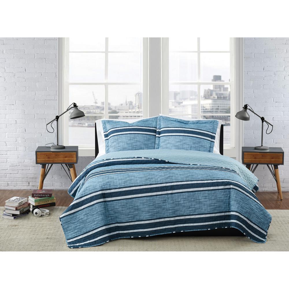 Mitchell Stripe Blue Polyester 3-Piece Full/Queen Quilt Set
