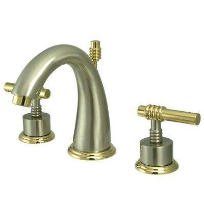 Milano 8 in. Widespread 2-Handle Mid-Arc Bathroom Faucet in Satin Nickel and Polished Brass
