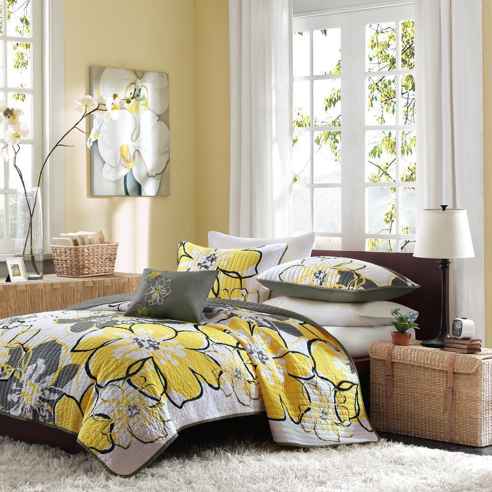 Mi Zone Skylar 4 Piece Yellow Grey Full Queen Print Coverlet Quilt Set