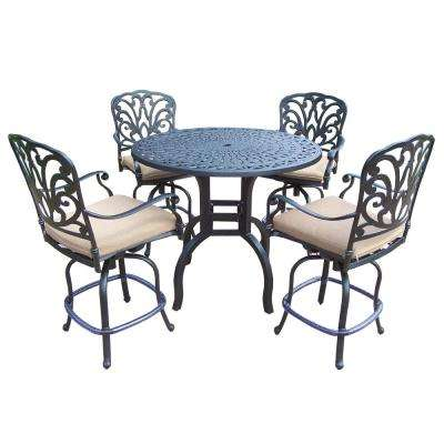 Aluminum 5-Piece Round Patio Bar Height Dining Set with SpunPoly Beige Cushions