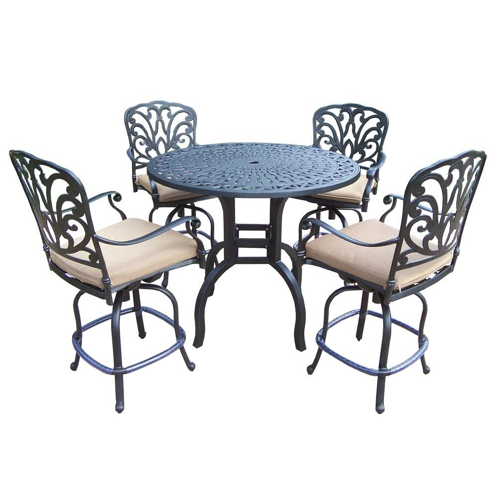 Oakland Living Aluminum 5 Piece Round Patio Bar Height Dining Set With Spunpoly Beige Cushions