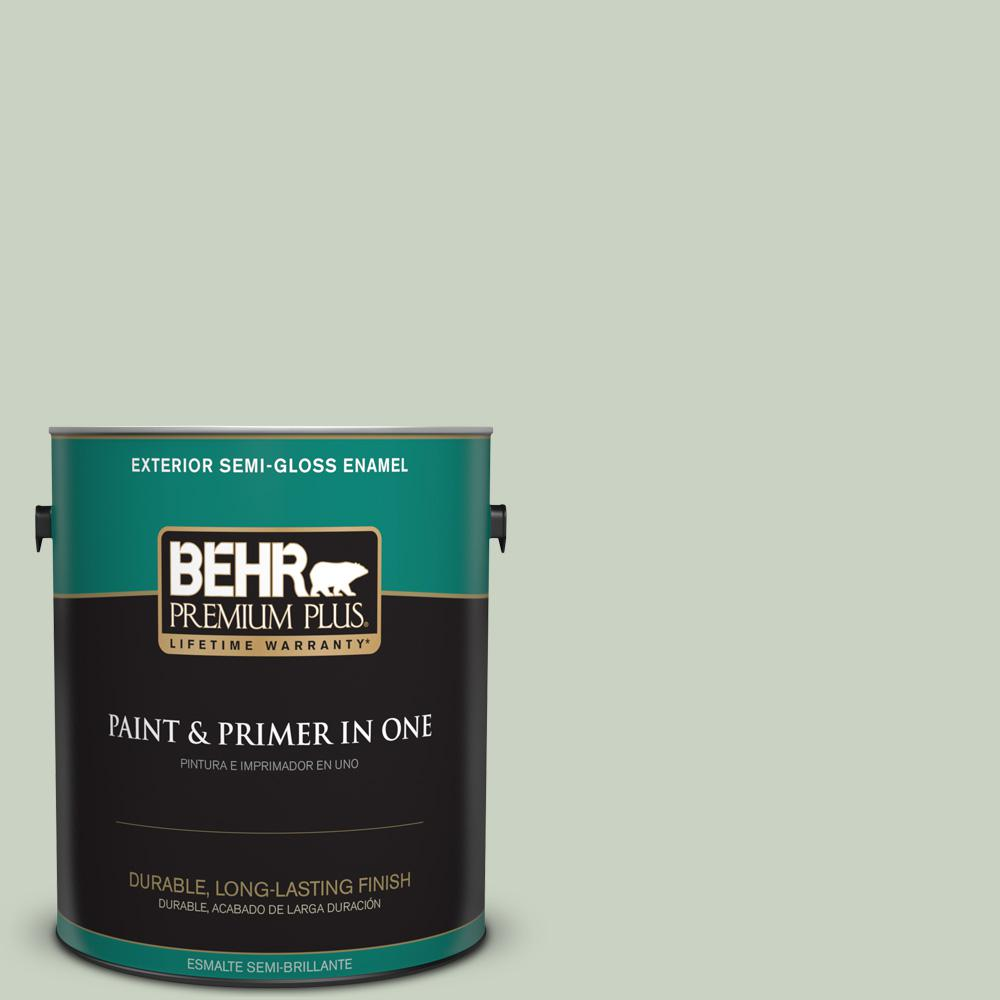 1 gal. #PPU11-12 Mild Mint Semi-Gloss Enamel Exterior Paint
