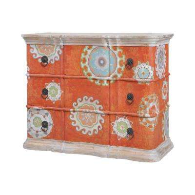 Harmony 3-Drawer Mottled Tangerine Chest