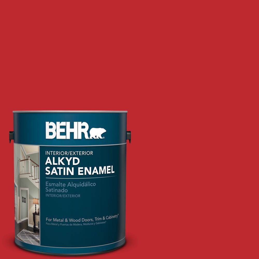 1 gal. #P150-7 Flirt Alert Satin Enamel Alkyd Interior/Exterior Paint