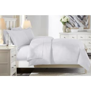 300 Thread Count Wrinkle Resistant American Cotton Sateen 3-Piece Full/Queen Duvet Cover Set in White