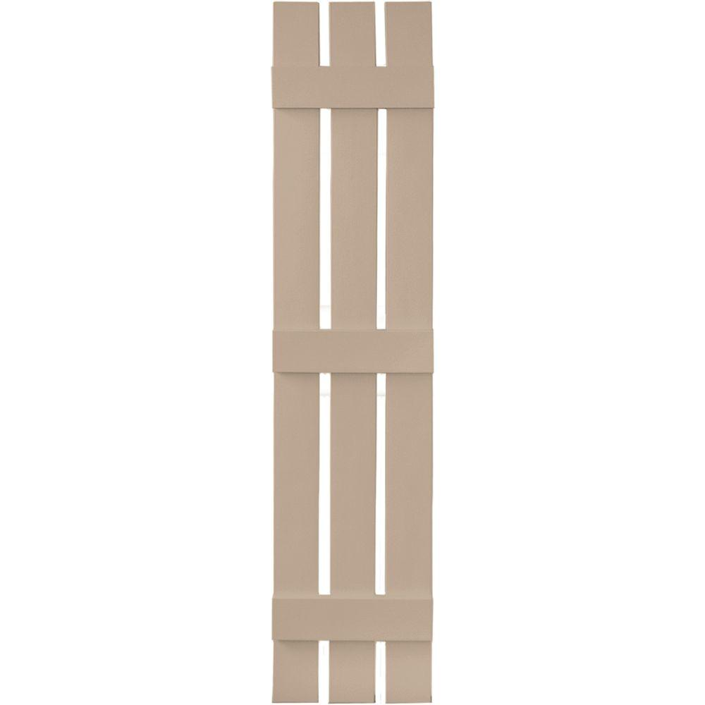 Builders Edge 12 in. x 59 in. Board-N-Batten Shutters Pair, 3 Boards Spaced #023 Wicker