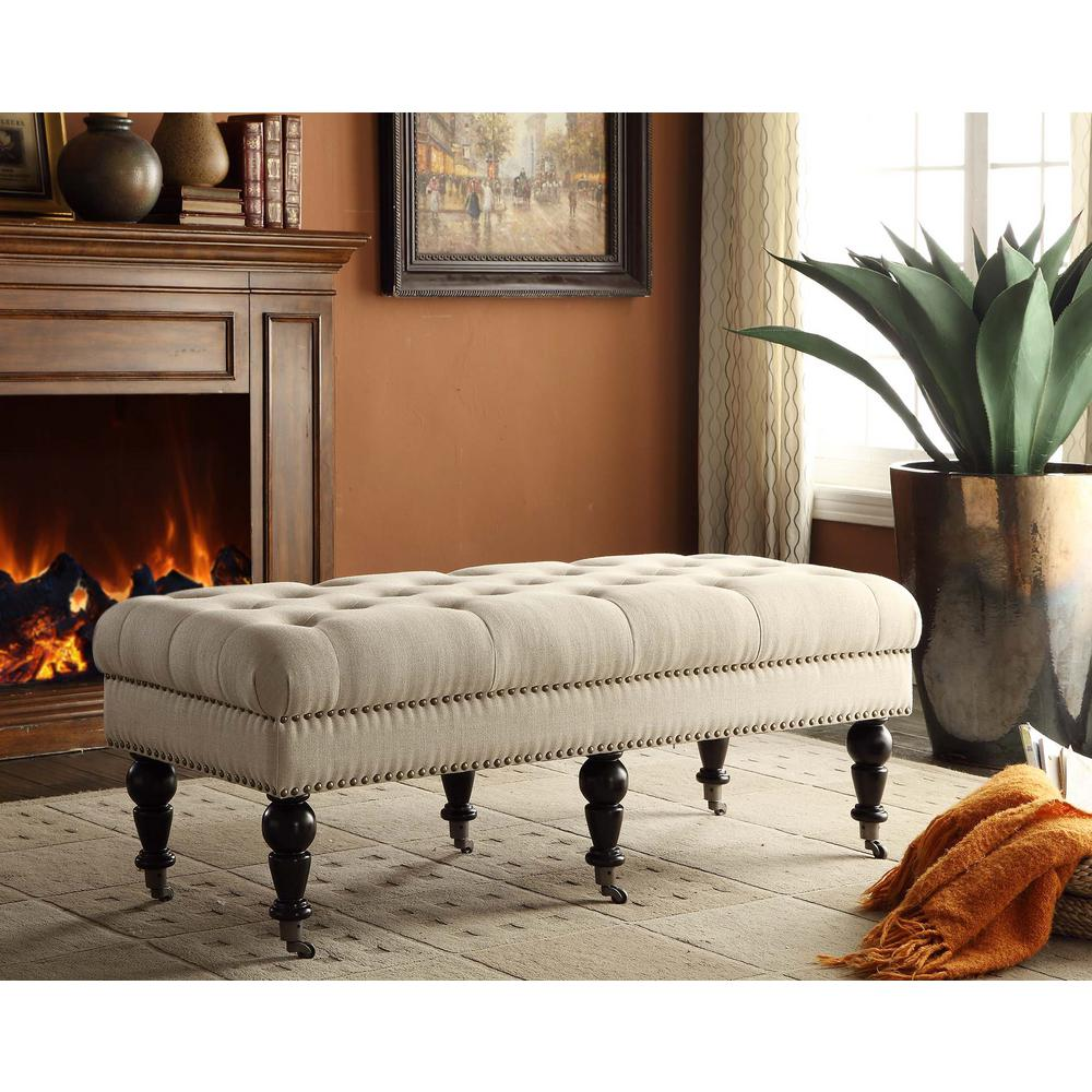 Linon home decor isabelle dark espresso mobile bench Home depot decor