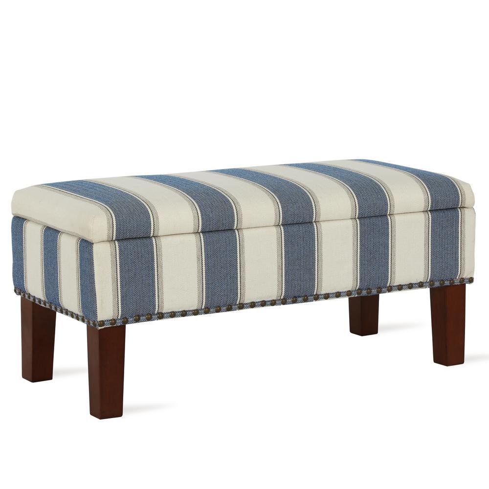 Tampa Blue Stripe Storage Bench Ottoman