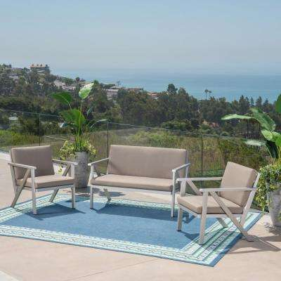 Panama Silver 3-Piece Metal Outdoor Loveseat and Club Chairs with Khaki Cushions