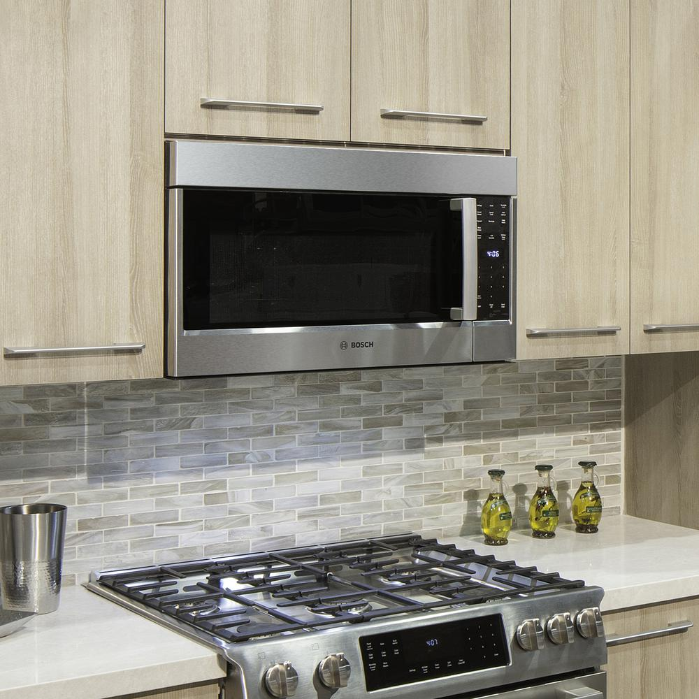 Bosch 500 Series 30 In 2 1 Cu Ft Over The Range Microwave Stainless Steel