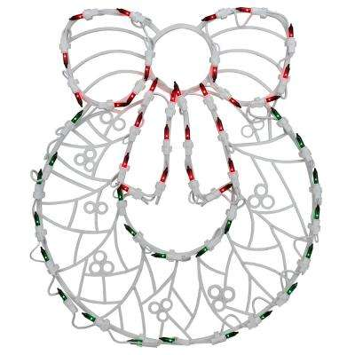 18 in. LED Lighted Wreath Christmas Window Silhouette Decoration (4-Pack)