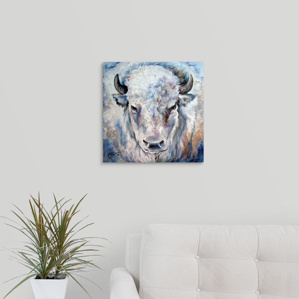 """16 in. x 16 in. """"White Buffalo 2424"""" by  Marcia Baldwin Canvas Wall Art"""