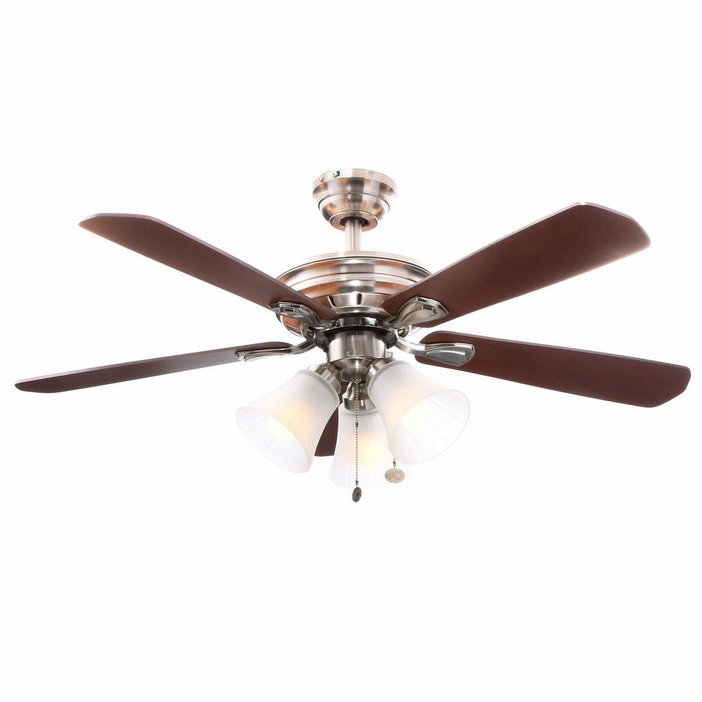 brushed nickel hampton bay ceiling fans 26617 64_1000 clarkston 44 in indoor brushed nickel ceiling fan with light kit  at suagrazia.org