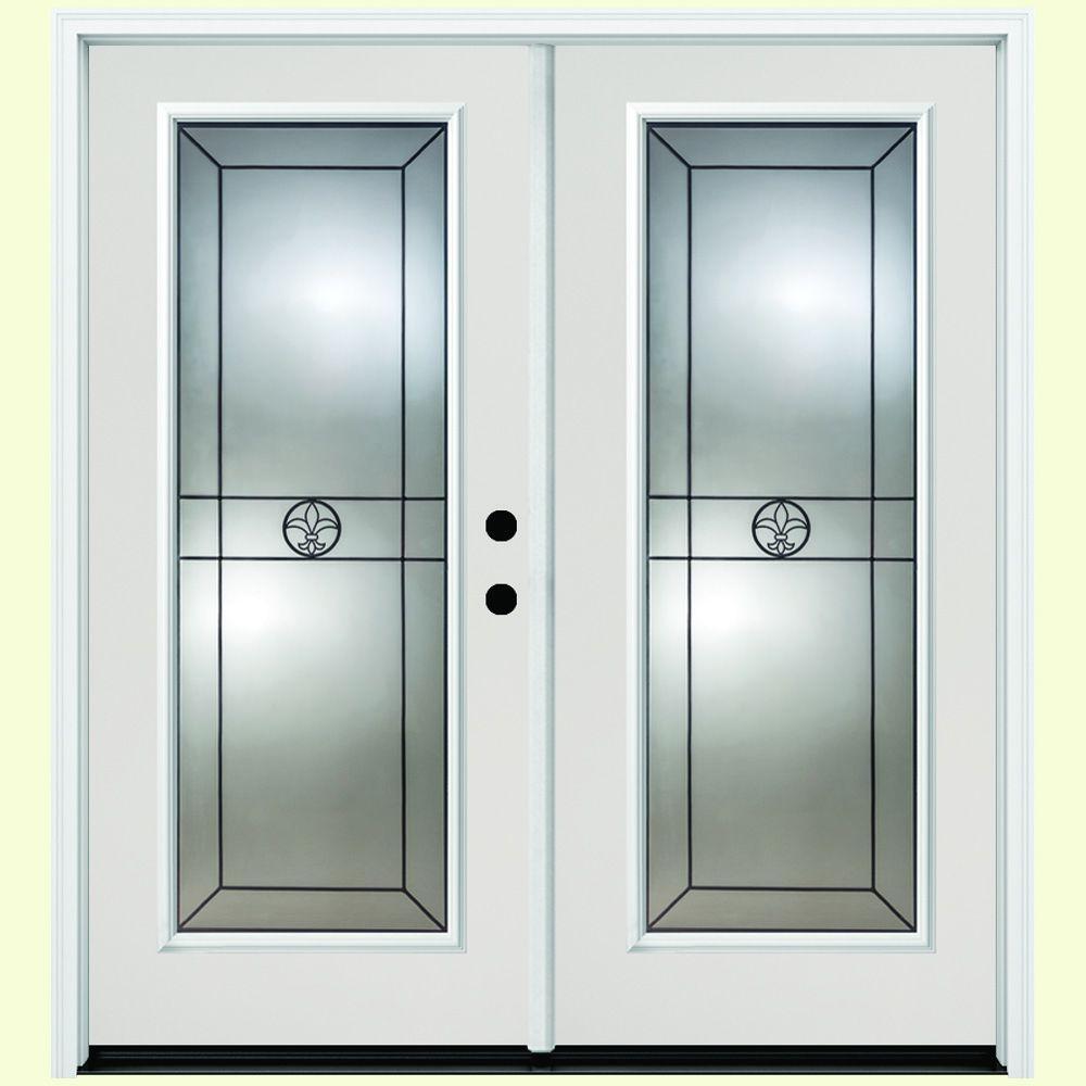 64 in. x 80 in. Orleans White Primer Prehung Primed Left-Hand Inswing Full Lite Fiberglass Patio Door
