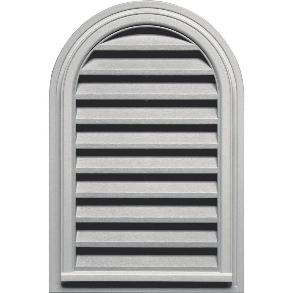 Builders Edge 22 in. x 32 in. Round Top Gable Vent in Paintable
