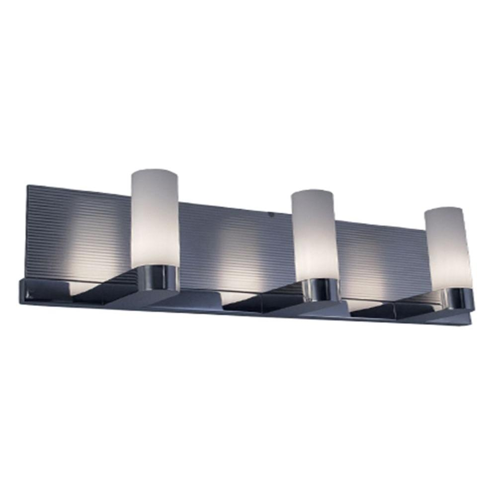 BAZZ 3-Light Halogen Metal Mirror or Aluminum Wall Fixture with White Tube Glass Shades and Reversible Backplate-DISCONTINUED