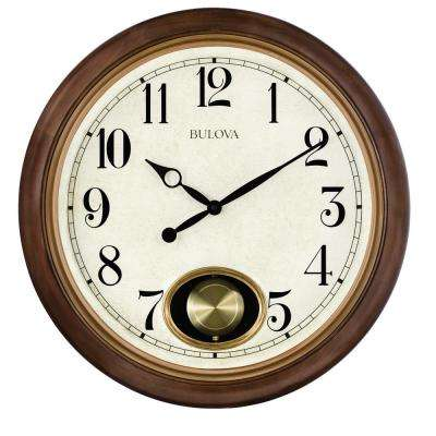 20 in. H x 20 in. W Brown Cherry Hardwood Round Wall Clock