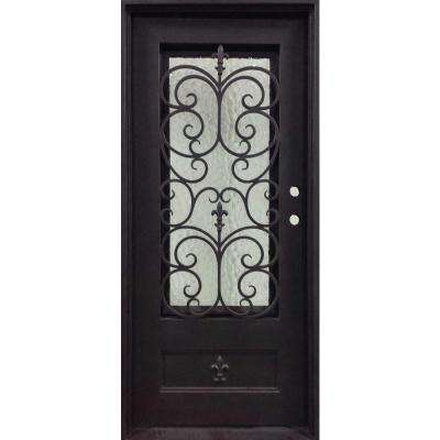 37.5 in. x 81.5 in. Orleans Classic 3/4 Lite Painted Oil Rubbed Bronze Wrought Iron Prehung Front Door