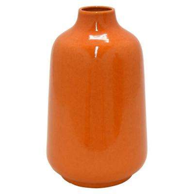 10.6 in. Orange Ceramic Decorative Vase