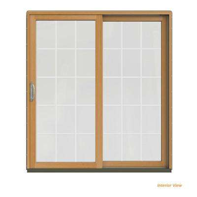 72 in. x 80 in. W-2500 Contemporary Silver Clad Wood Right-Hand 15 Lite Sliding Patio Door w/Stained Interior