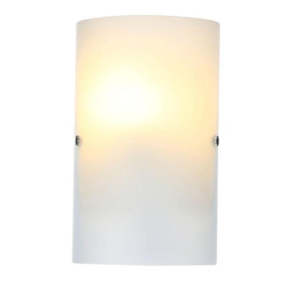 Troy 3 Collection 7.1 in. W x 11.8 in. H 1-Light Matte Nickel Wall Sconce with Frosted Glass