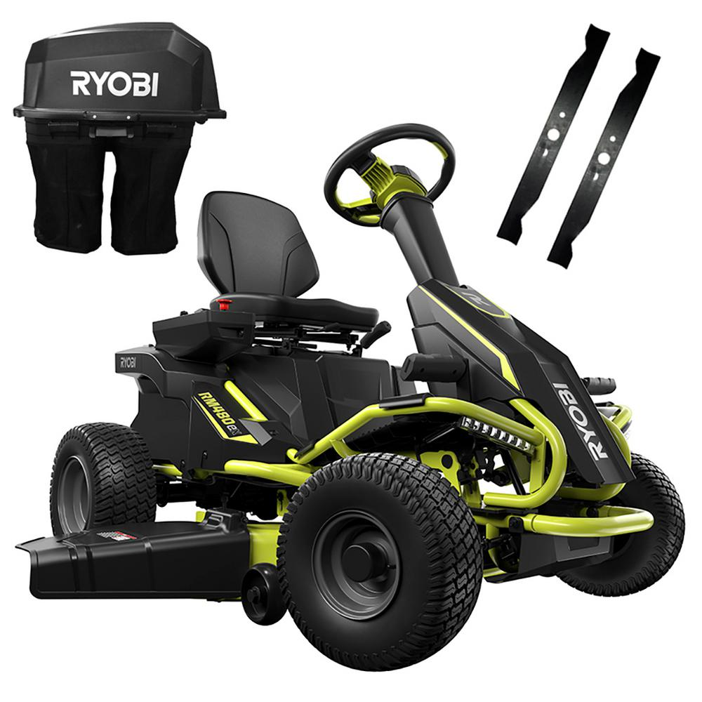 RYOBI 38 in  75 Ah Battery Electric Rear Engine Riding Lawn Mower and  Bagging Kit