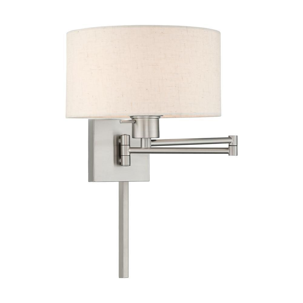 1-Light Brushed Nickel Swing Arm Lamp