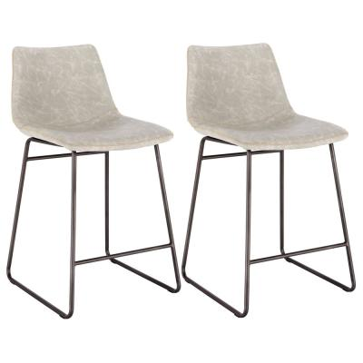 Classic 24 in. Stone Gray Faux Leather Bar Stool (Set of 2)