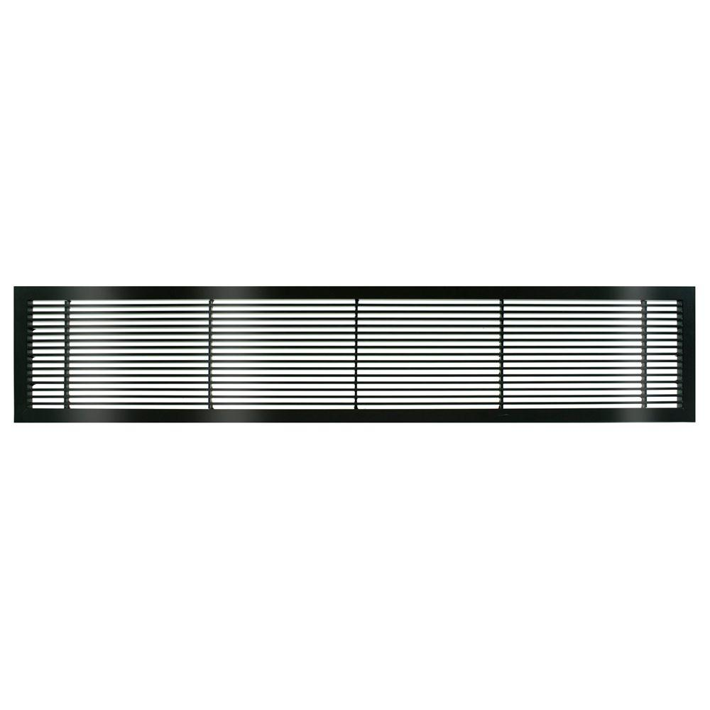 Architectural Grille AG10 Series 6 in. x 12 in. Solid Aluminum Fixed Bar Supply/Return Air Vent Grille, Black-Gloss
