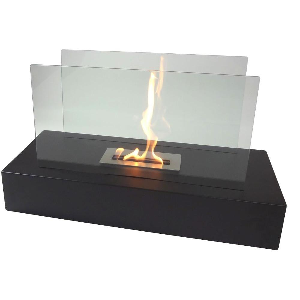 Fiamme 31.5 in. Freestanding Decorative Bio-Ethanol Fireplace in Matte Black
