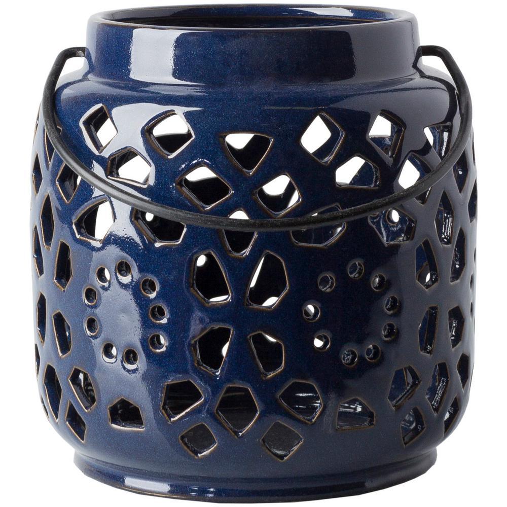 Kimba 6.5 in. Navy Ceramic Lantern