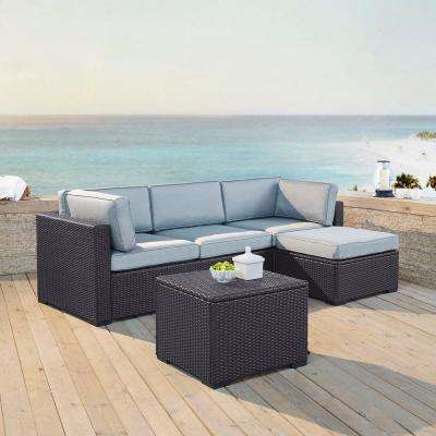 Biscayne 4-Person Wicker Outdoor Seating Set with Mist Cushions - 1 Loveseat, 1 Corner Chair, Ottoman, Coffee Table